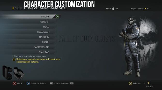 Character customisation